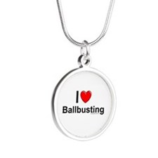 Ballbusting Silver Round Necklace