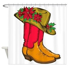 Christmas Cowboy Boots Shower Curtain
