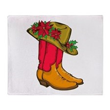 Christmas Cowboy Boots Throw Blanket