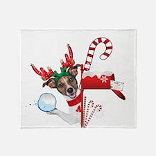 Christmas Funny Dog with Snowball Throw Blanket