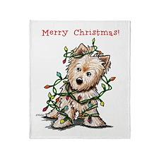 Christmas KiniArt Norwich Terrier Throw Blanket