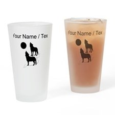 Custom Coyotes Howling Silhouette Drinking Glass
