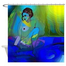 Blue Nude In Blue Water Shower Curtain