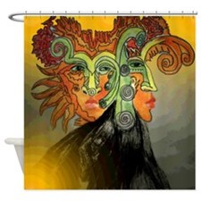Mystery Person Orange Shower Curtain