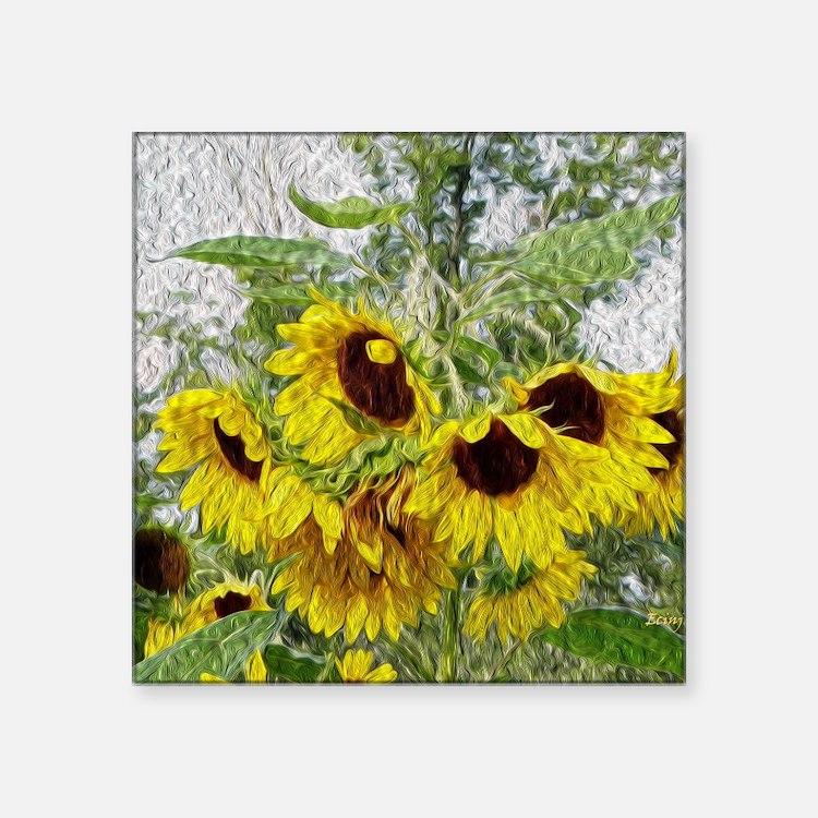"Sunflower Morn Square Sticker 3"" x 3"""