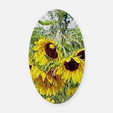 Sunflower Morn Oval Car Magnet