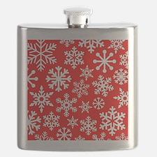 Red & White Snowflake Design Flask