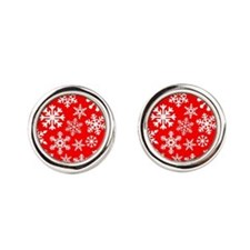 Red & White Snowflake Design Round Cufflinks