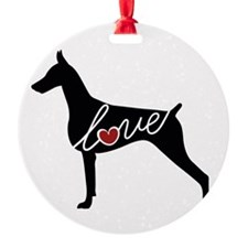 Doberman Love Ornament