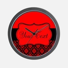 Personalizable Red Black Damask Wall Clock