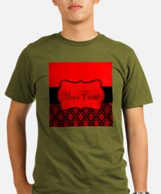 Personalizable Red Black Damask T-Shirt