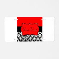 Personalizable Red Black Aluminum License Plate
