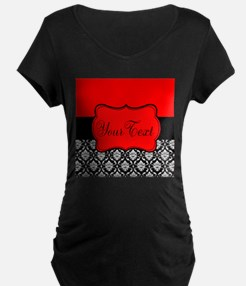Personalizable Red Black Maternity T-Shirt