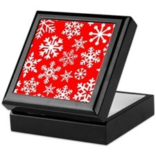 Red & White Snowflake Design Keepsake Box