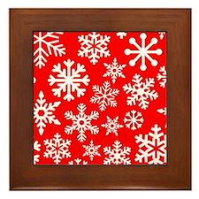 Red & White Snowflake Design Framed Tile