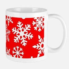 Red & White Snowflake Design Mugs