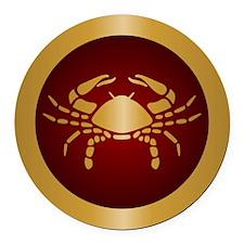 Cancer Gold Round Car Magnet
