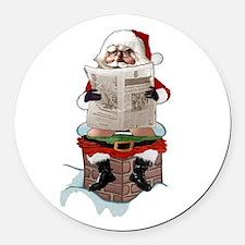"Santa Claus ""Party Pooper"" Christ Round Car Magnet"