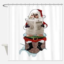 "Santa Claus ""Party Pooper"" Christma Shower Curtain"