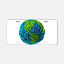 Cute Globe Aluminum License Plate