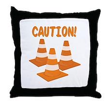 Caution Throw Pillow