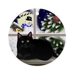 Black Cat Snowman Ornament (Round)