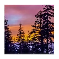 Evergreen Sunset Tile Coaster