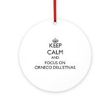 Keep calm and focus on Cirneco De Ornament (Round)