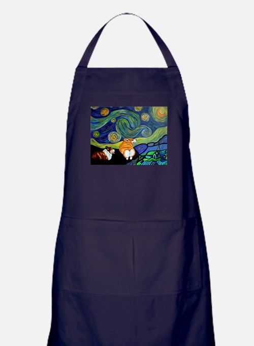 Corgi Starry Starry Night Apron (dark)