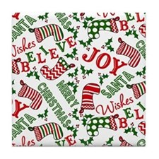merry christmas joy Tile Coaster