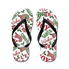 Merry Christmas Joy Stockings Flip Flops