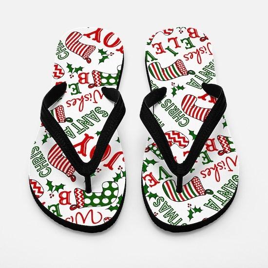 Merry Christmas Joy Stockings Flip Flops
