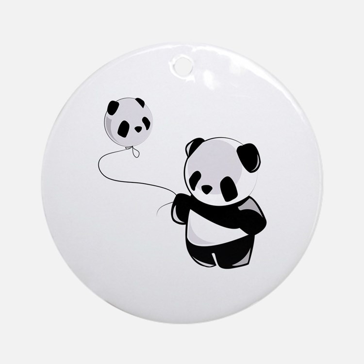 Panda With Balloon Ornament (Round)