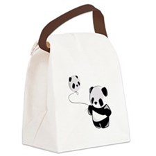 Panda With Balloon Canvas Lunch Bag