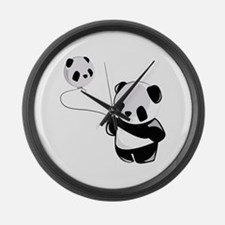 Panda With Balloon Large Wall Clock