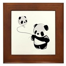 Panda With Balloon Framed Tile