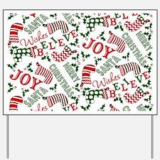Merry Christmas Joy Stockings Yard Sign