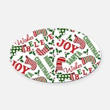 Merry Christmas Joy Stockings Oval Car Magnet