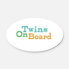 Twins On Board Oval Car Magnet