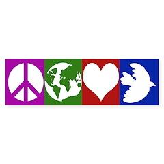Peace, Earth, Love, Dove (bumper sticker)