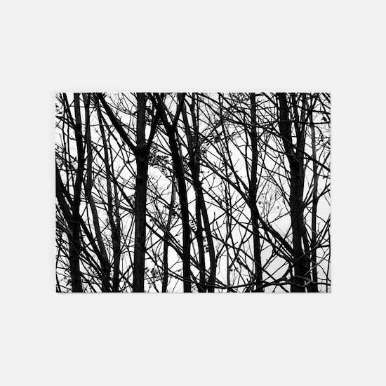 Winter Trees 5'x7'Area Rug