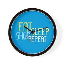 Eat Sleep Shop Repeat Wall Clock