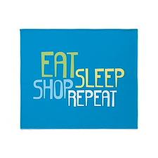 Eat Sleep Shop Repeat Throw Blanket