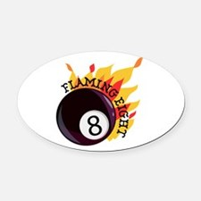 Flaming Eight Oval Car Magnet