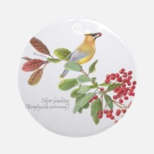 Cedar Waxwing And Berries Ornament (round)