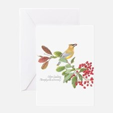 Cedar Waxwing and berries Greeting Cards