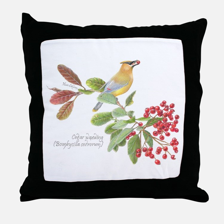 Cedar Waxwing and berries Throw Pillow