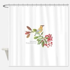 Cedar Waxwing and berries Shower Curtain