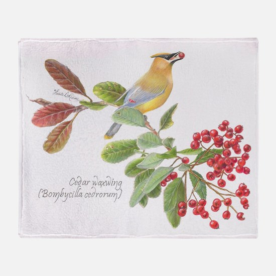 Cedar Waxwing and berries Throw Blanket