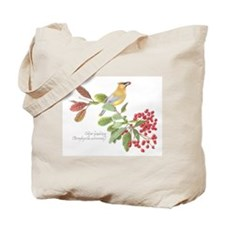 Cedar Waxwing and berries Tote Bag
